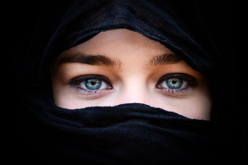 blue eyes women black blue muslim Wallpapers HD / Desktop and Mobile  Backgrounds