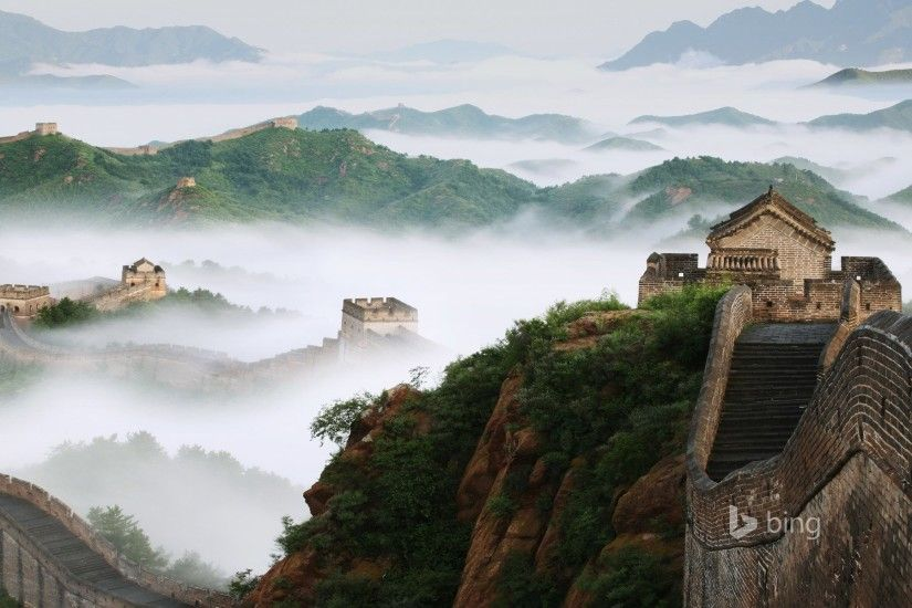 china the great wall mountain fog