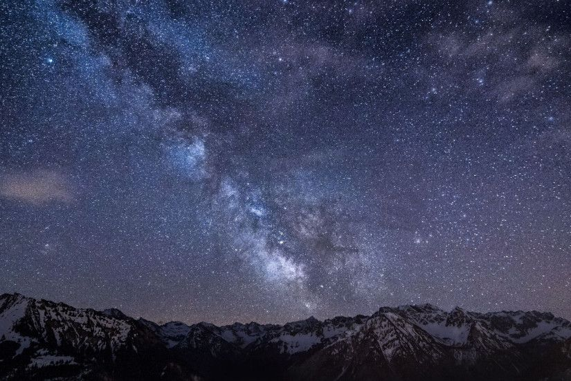 2560x1440 Wallpaper mountains, night, sky, stars