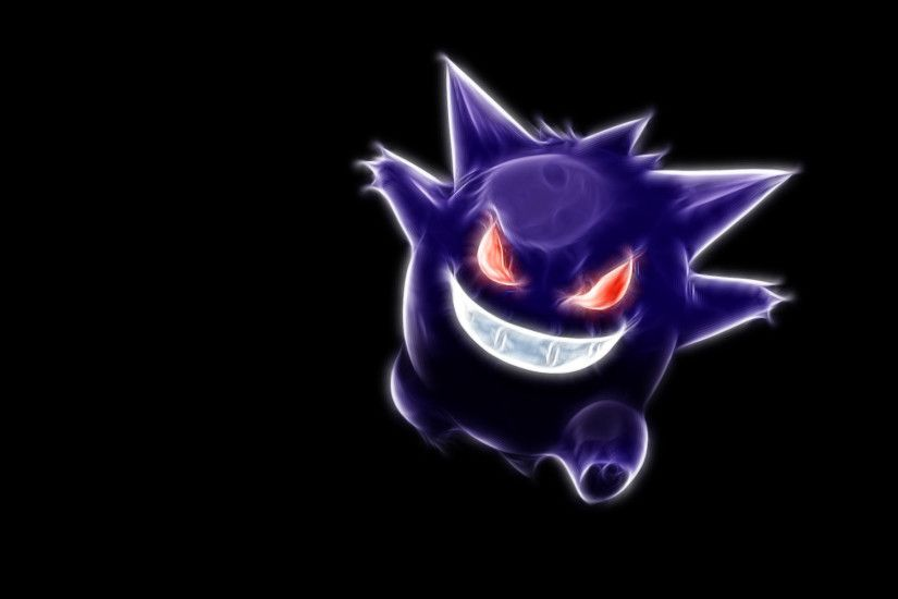 Gengar, Anime, Abstract, Black Background wallpaper thumb