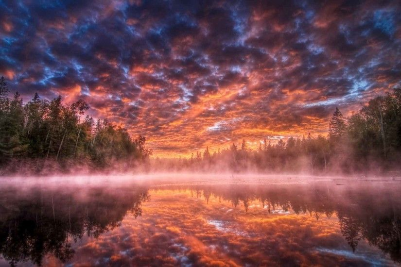 Lakes Clouds Color Forest Reflection Sunrise Trees Sunset Nature Landscapes  Sky Fog Water Scenery Wallpaper Free