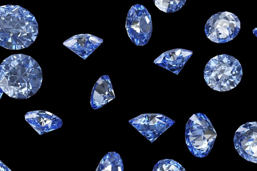 Falling Blue Diamonds on black background. HQ Seamless Looping Animation  with Alpha Channel