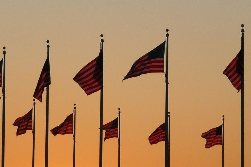 Flags at Sunset I