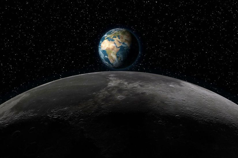 Realistic animation of planet Earth rising over the Moon horizon, with stars  in the background. Elements of this footage are furnished by NASA.