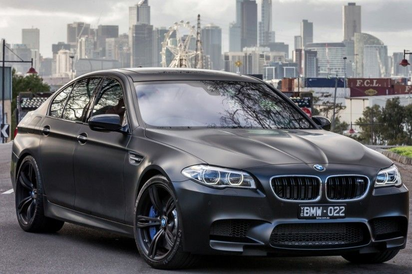 Preview wallpaper bmw, m5, black, side view 3840x2160