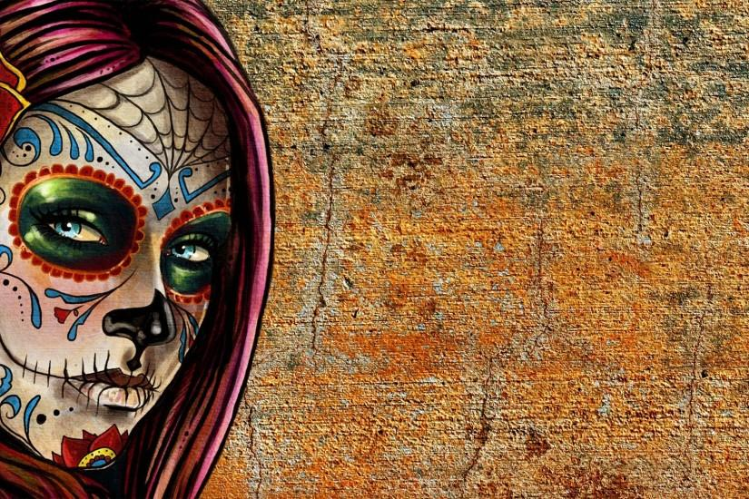 Beautiful Face Sugar Skull Woman · HD Wallpaper | Background ID:515563