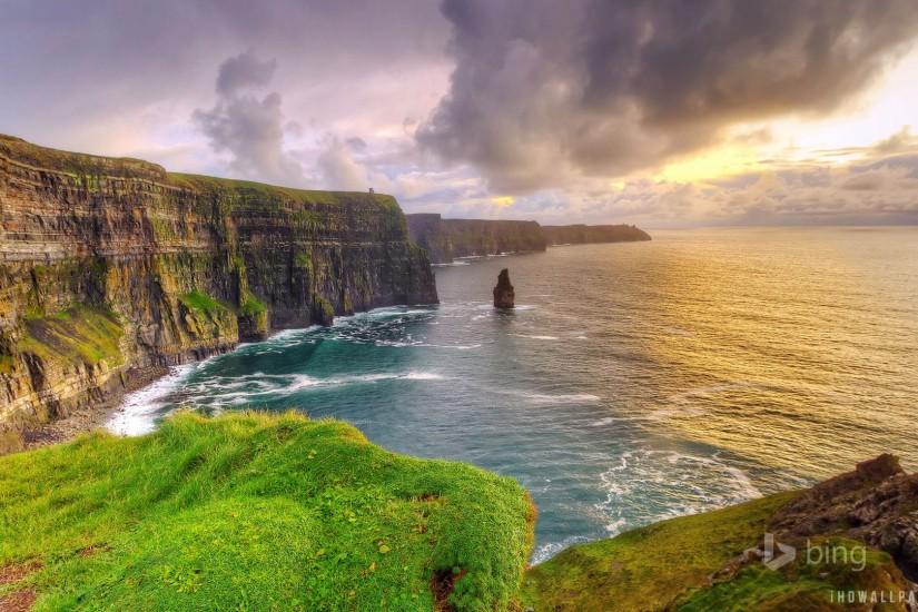 Moher at sunset, County Clare, Ireland HD Wallpaper - iHD Wallpapers .