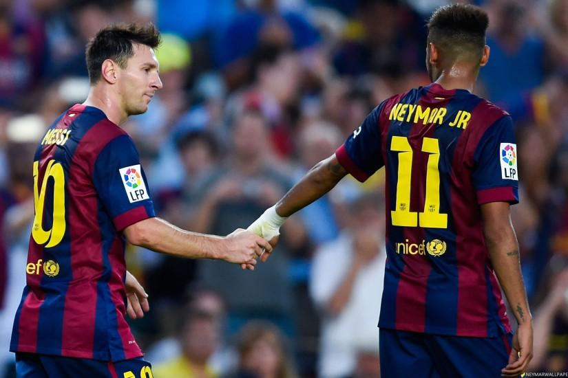 Neymar and Messi holding hands - Neymar Wallpapers
