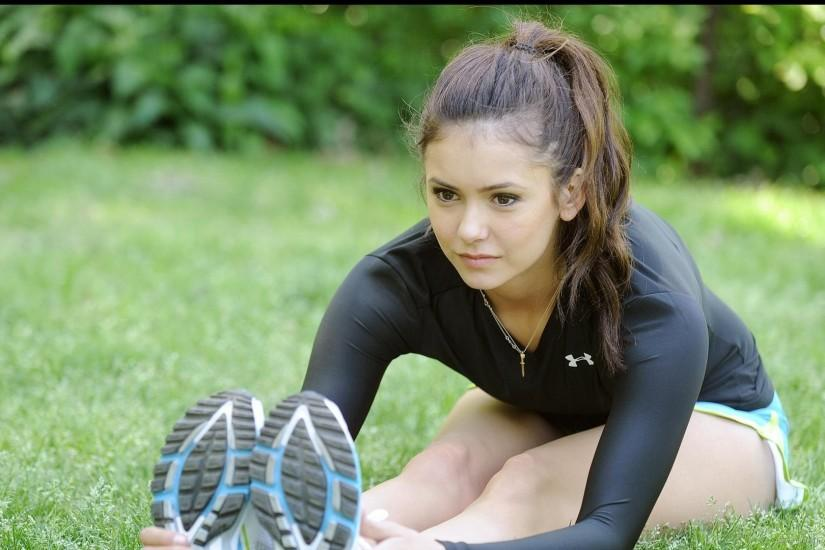 1366x768 Nina Dobrev Under Armour wallpaper