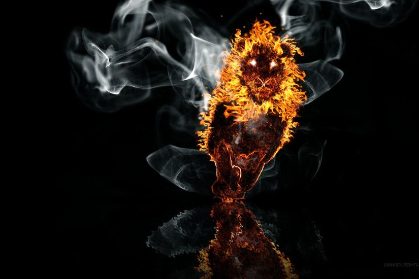 Artistic - Lion Fire On The Water Wallpaper