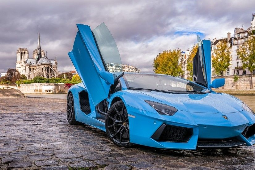Preview wallpaper lamborghini, aventador, blue, paris 1920x1080