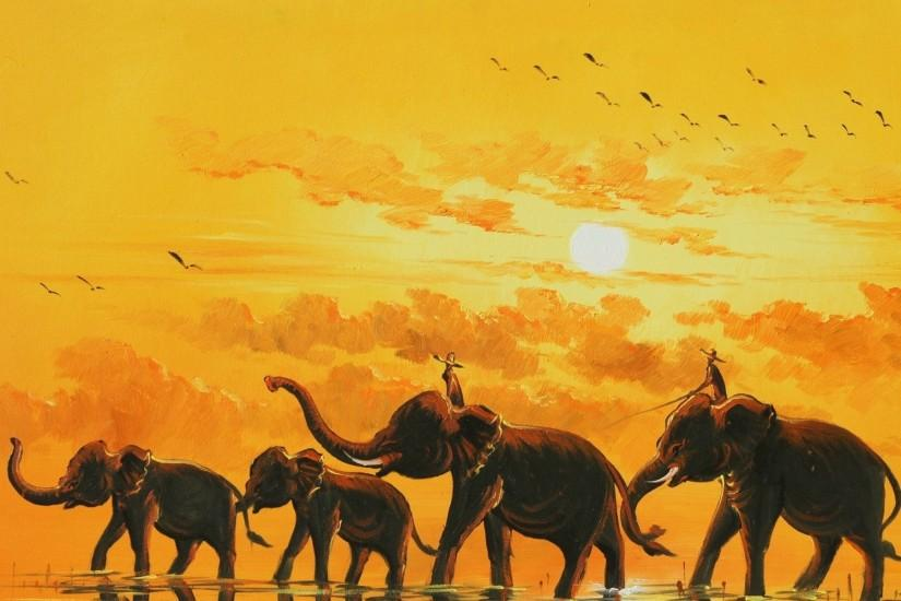 Download Art Paintings Elephant Artistic Wallpaper 1920x1200 | Full HD .