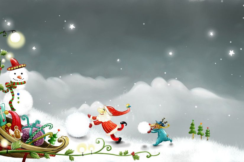 Christmas Snowman Wallpaper | Christmas Snowman Snow Santa Claus Reindeer  Digital Art 1920x1200