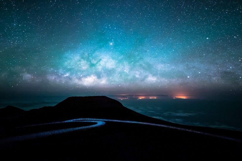 night road and starry sky 4k ultra hd wallpaper ...