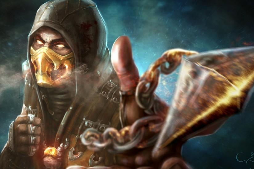 1920x1080 Wallpaper mortal kombat x, scorpion, art, character, ghost