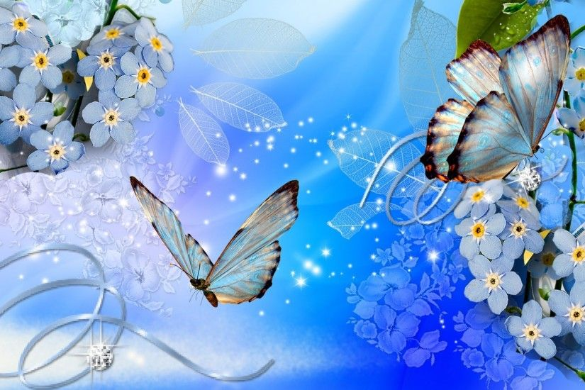 Ribbon Tag - Butterfly Diamonds Ribbon Firefox Stars Blue Butterflies Shine  Floral Persona Flowers Flower Wallpapers