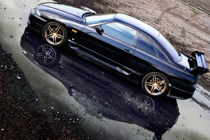 Black cars vehicles reflections nissan skyline r33 gt-r wallpaper