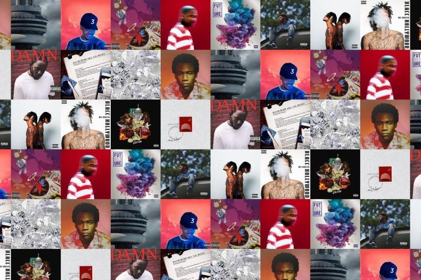 Download this free wallpaper with images of Childish Gambino – Because Of  The Internet, Drake – Views, Chance The Rapper – Coloring Book, Kanye West  ...
