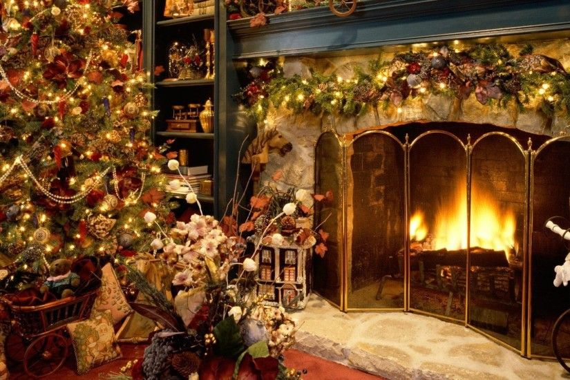 ... new year, christmas, fireplace