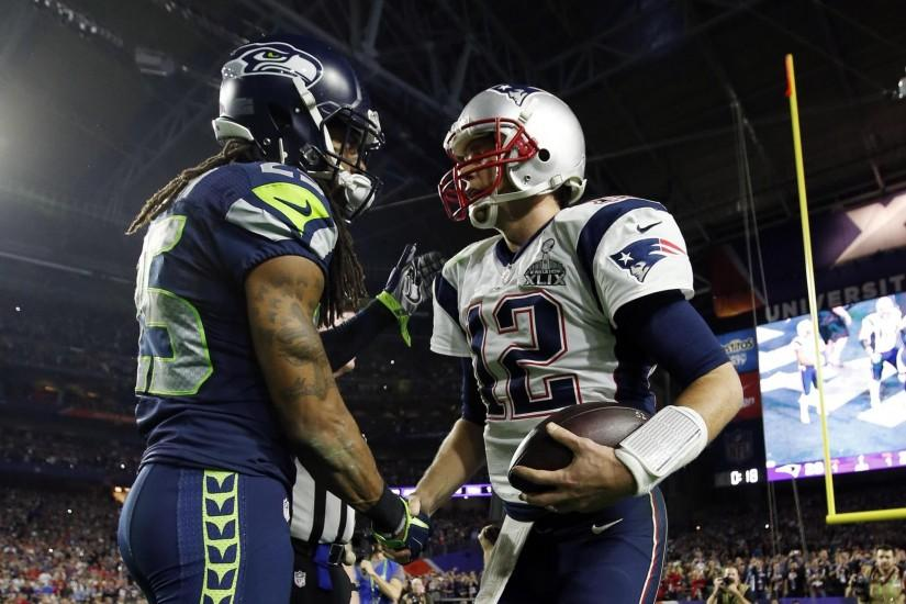 Richard Sherman a good sport with Tom Brady after Super Bowl