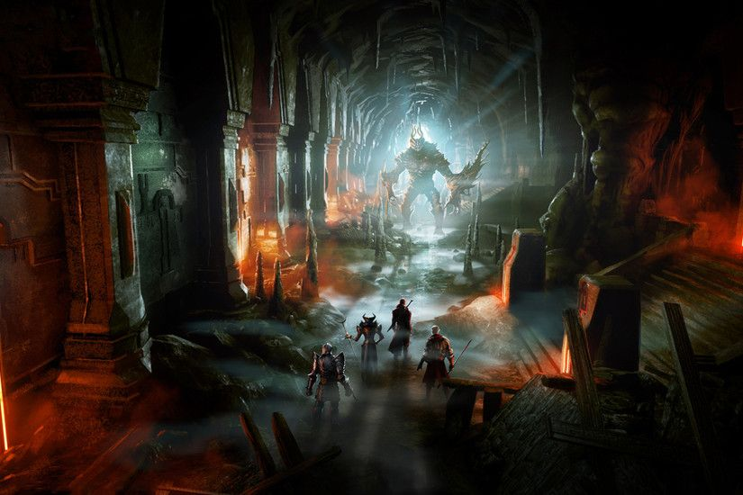 Download now full hd wallpaper dragon age 2 tunnel monster art ...