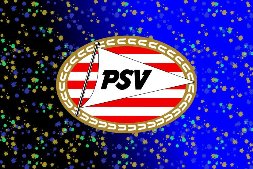 Black blue PSV football club wallpaper with paint splashes