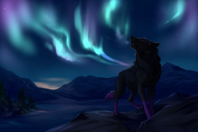 northern lights mountains wolves star wolf wallpaper background