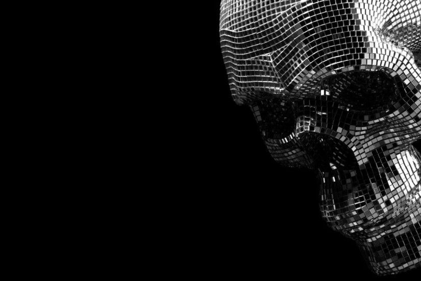 A Disco-Ball in the Shape of Skull. [1920x1080]