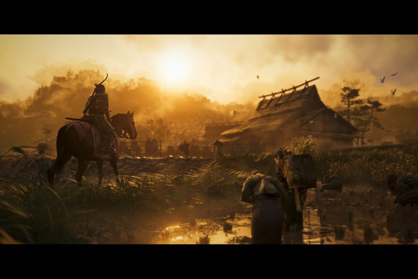 Trotting through rice paddies at sunrise. Sucker Punch Productions/Sony  Interactive Entertainment