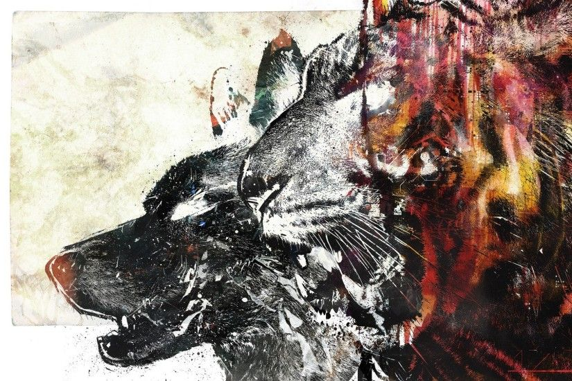 Preview wallpaper wolf, tiger, drawing, white, red 1920x1080