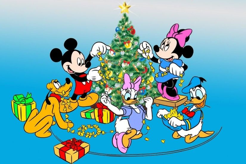 Mickey Mouse Christmas Wallpaper Hd : Mickey and minnie mouse donald duck  pluto decorating