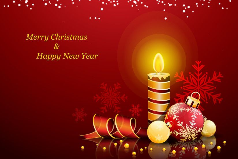 Merry Christmas and Happy New Year Candles and Bells Wallpapers