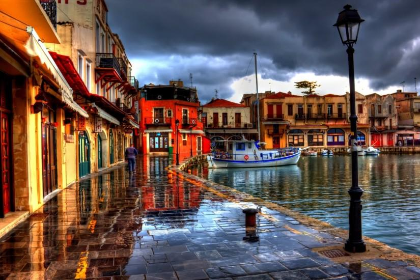 1920x1200 Wallpaper rethymno, greece, night, beach, cafes, street, hdr