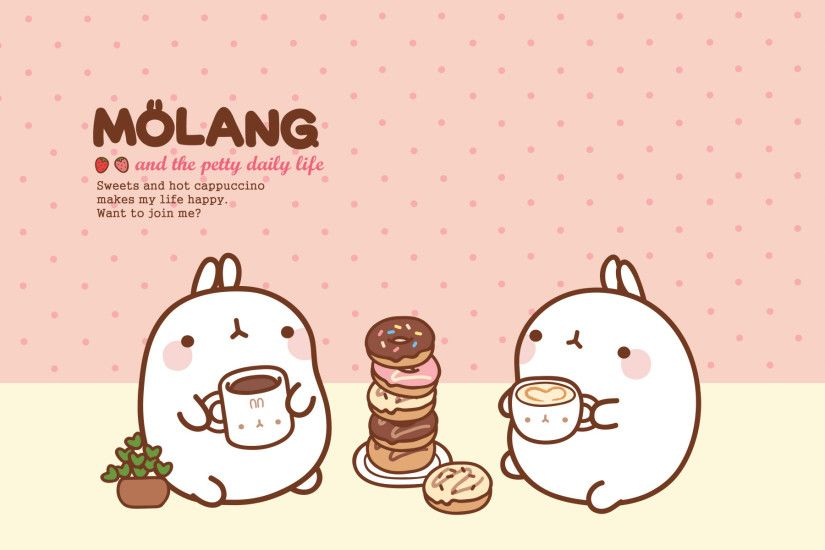 Molang Cute Korean Bunny Desktop Wallpaper - Litle Pups