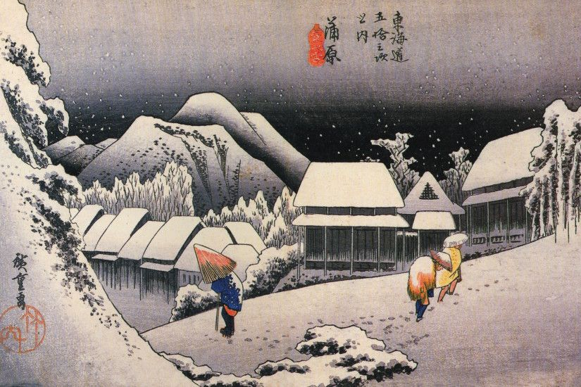 File:Hiroshige, A village in the snow.jpg