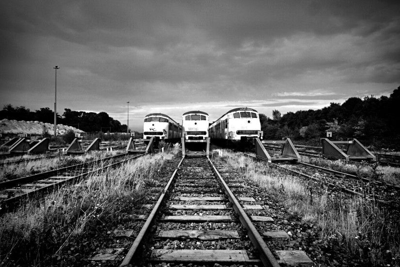 Preview wallpaper train, railway, rails, black and white 1920x1080