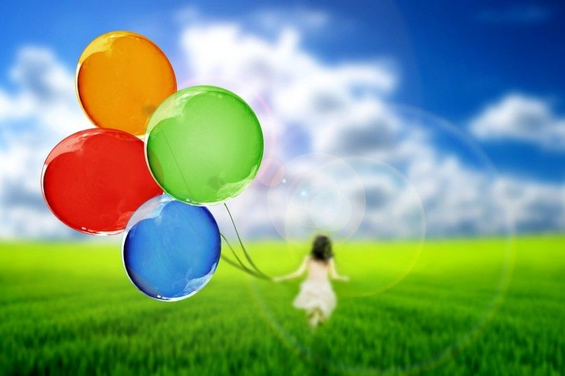 mood balloons bulbs girl silhouette nature grass green sky background  wallpaper widescreen full screen widescreen hd