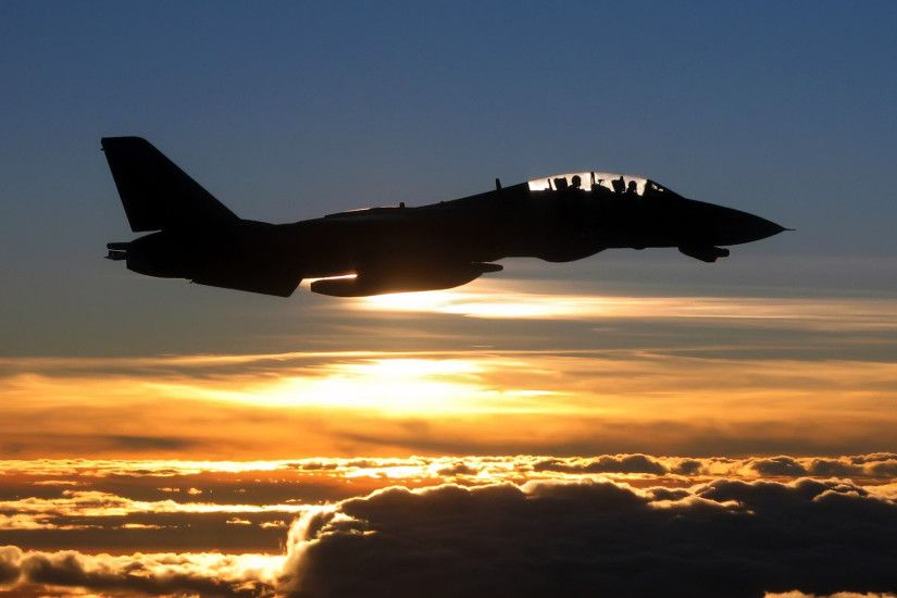 Grumman F-14 Tomcat sunset silhouette 1920x1200 wallpaper