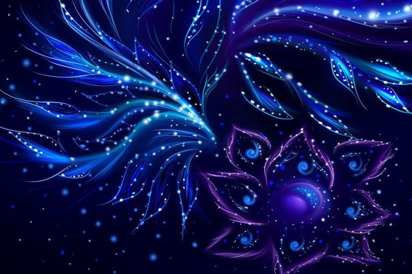 Bright light in the middle of the fractal flower wallpaper .