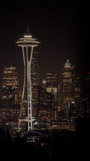 Seattle Night Light City Skyline Android Wallpaper ...