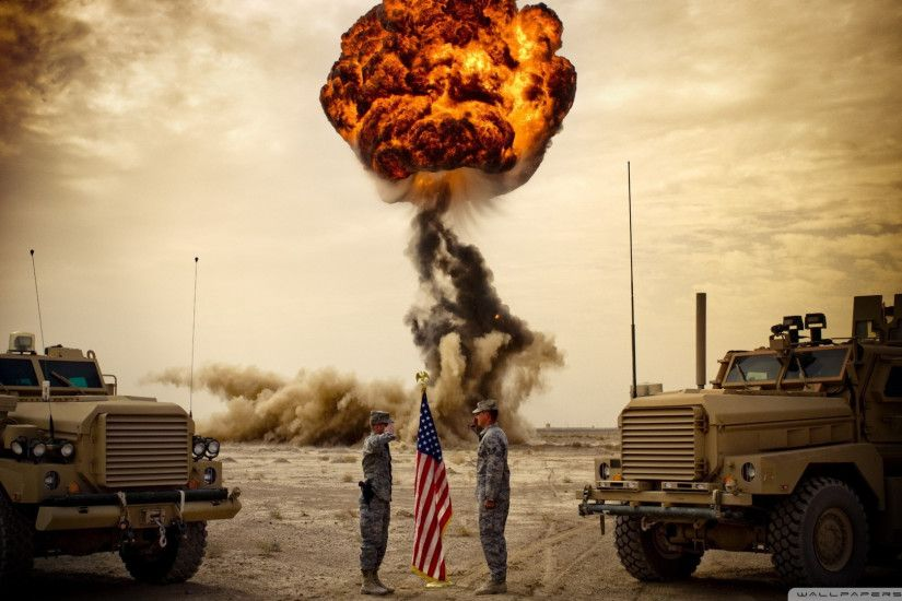 Murican wallpaper with two soldiers saluting American flag with an  explosion in the background.