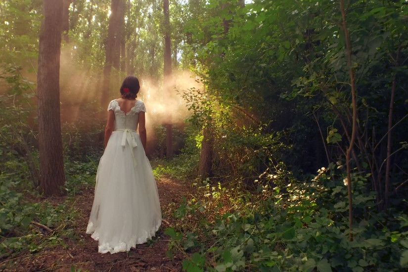 Beautiful Young Woman Walking Through Enchanted Forest Brides Princess  Dress Fantasy Fairy Tale Beaut Freedom Wedding Concept Stock Video Footage  - ...