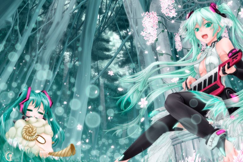 Konachan.com - 151398 animal aqua_eyes aqua_hair cherry_blossoms chibi  hatsune_miku instrument long_hair miku_append petals tree