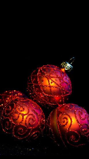 Christmas Balls Red Glitter Android Wallpaper ...