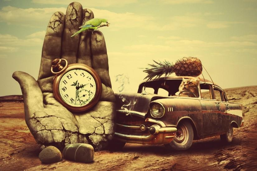 Preview wallpaper creative, hand, surrealism, car, clock, pineapple, cat  1920x1080