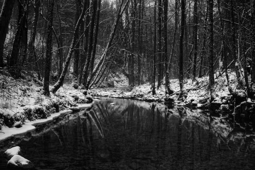 River in the snowy forest wallpaper - 392682