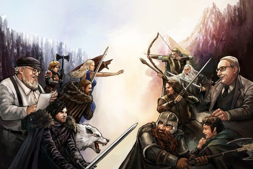 Wallpaper : crossover, soldier, dragon, fan art, Game of Thrones, The Lord  of the Rings, Legolas, Gandalf, Person, J R R Tolkien, Jon Snow, ...