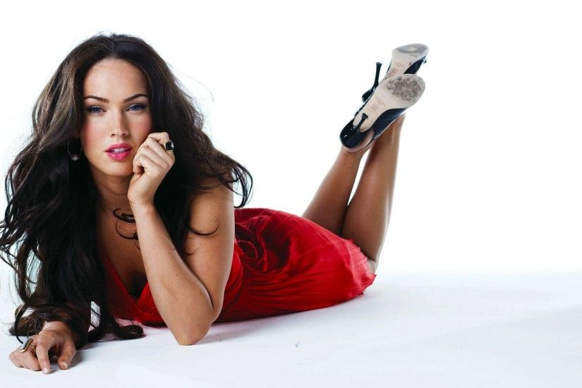 Megan Fox white background red dress wallpaper for desktop