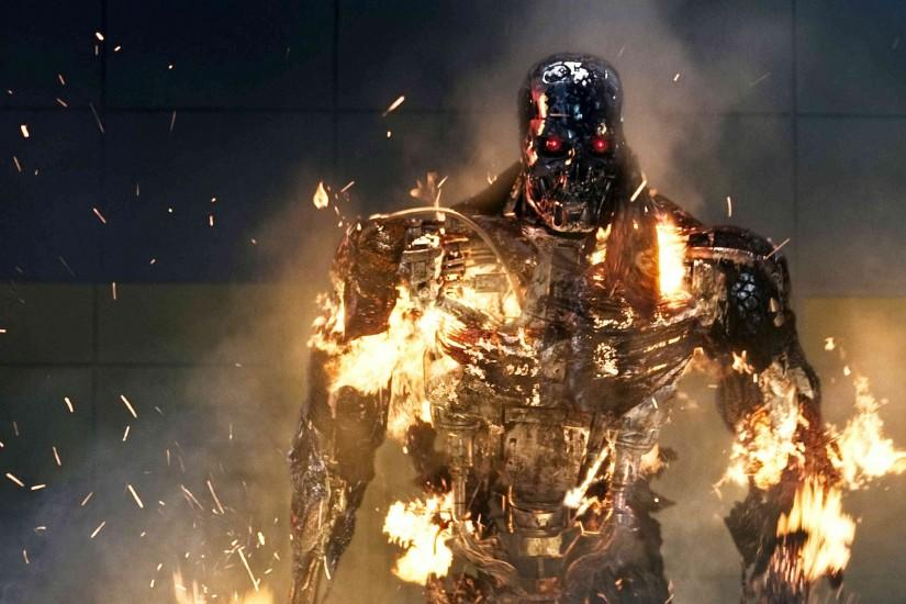 Burning Terminator, Terminator Genisys 3250x1829 wallpaper