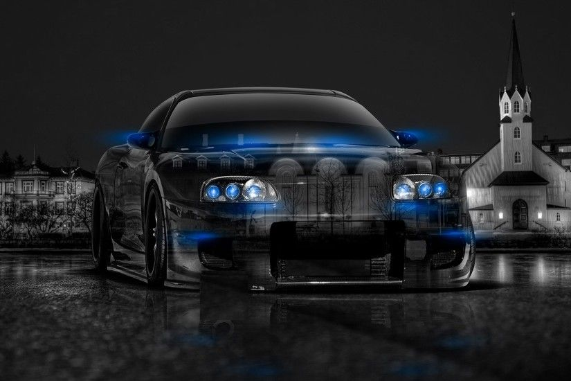 Abstract Black Blue Toyota Supra HD Wallpaper